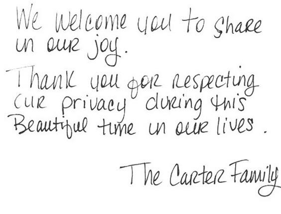 Bilhete de Jay-Z e Beyoncé agradece respeito à privacidade do casal