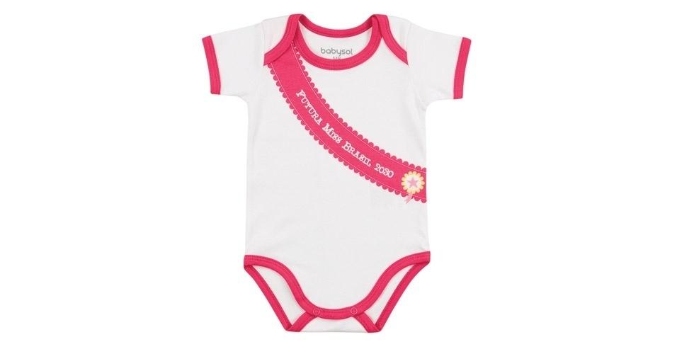 """Body feminino """"Futura Miss Brasil 2030"""". Feito em suedine (100% algodão). Disponível nos tamanhos P, M, G e GG. Preço: R$ 19,90, na Babysol (www. marisol.com.br). Preço consultado em março de 2012"""