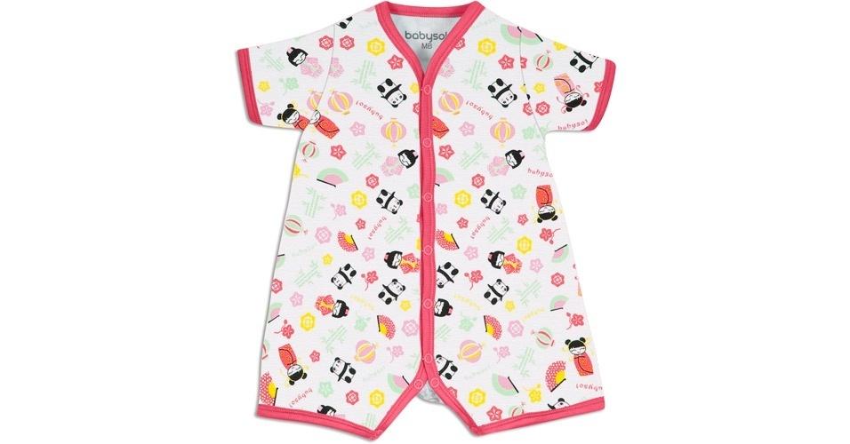 Da Babysol (www.marisol.com.br), body inspirado em um quimono. Modelo feminino, feito em suedine e 100% algodão. Disponível nos tamanhos P, M, G e GG. Preço: R$ 29,90. Preço consultado em março de 2012