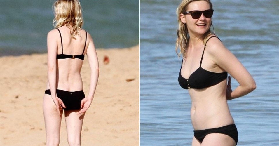 A atriz Kirsten Dunst teve que dar uma arrumadinha no biquin&#237; quando curtia a praia no Hava&#237;