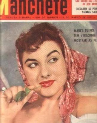 """Marly Bueno estampa a capa da revista """"Manchete"""" de janeiro de 1957"""