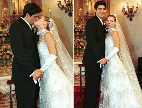 """O casamento dos personagens Edu (Reynaldo Gianecchini) e Camila (Carolina Dieckmann) na novela """"Laços de Família"""", da Rede Globo, no Rio de Janeiro (14/11/00)"""