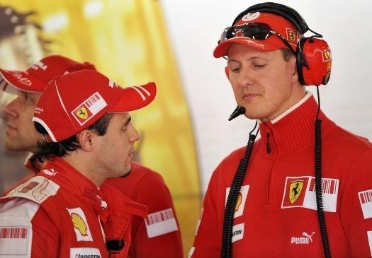 De companheiro em 2006, Schumacher passou a conselheiro de Massa em 2009 (mar.2009).