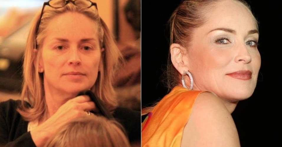 Sharon Stone cinquentona e sem maquiagem, em foto de 2010, e no Carnaval de Salvador deste ano