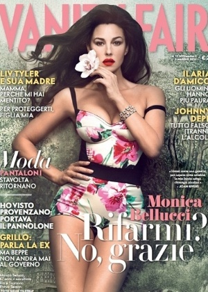 A modelo e atriz italiana Monica Bellucci &#233; a capa da revista &#34;Vanity Fair&#34;. A bela de 47 anos contou &#224; publica&#231;&#227;o que nunca fez pl&#225;stica na vida: &#34;N&#227;o gosto da ideia de ter um rosto diferente, e francamente, acho que isso &#233; muito perigoso para uma atriz&#34;