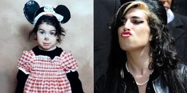 Foto à esquerda mostra Amy Winehouse fantasiada de Minnie quando era uma garotinha. A cantora morreu em 23/7/11, aos 27 anos