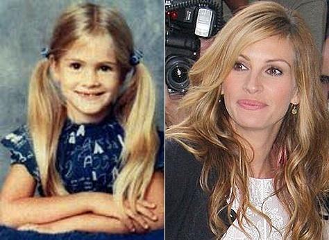 """Julia Roberts é linda desde criança. Olha que fofa de maria-chiquinha e com uma """"janelinha"""" nos dentes da frente! Veja outras fotos da trajetória da atriz"""