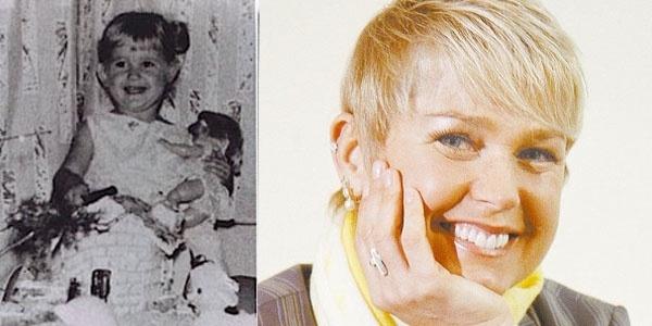 """Na primeira parte da imagem está a menina Xuxa Meneghel quando só pensava nas brincadeiras com bonecas. O mundo de fantasia ficou para trás e Xuxa se tornou a """"rainha dos baixinhos"""" da TV"""
