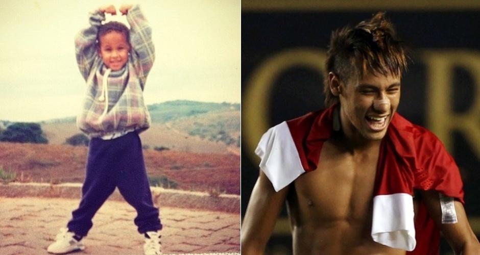 """Neymar tinha carinha de menino sapeca desde pequeno. O jogador publicou no Twitter uma foto de quando era criança e escreveu: """"Favela desde pequeno"""" (7/3/12). E aí, achou que o craque de 20 aninhos mudou muito?"""