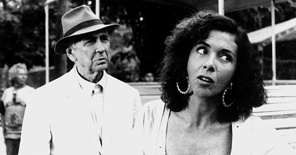 """1988 - Os atores Brandão Filho e Betty Faria em cena do filme """"O Romance da Empregada"""""""