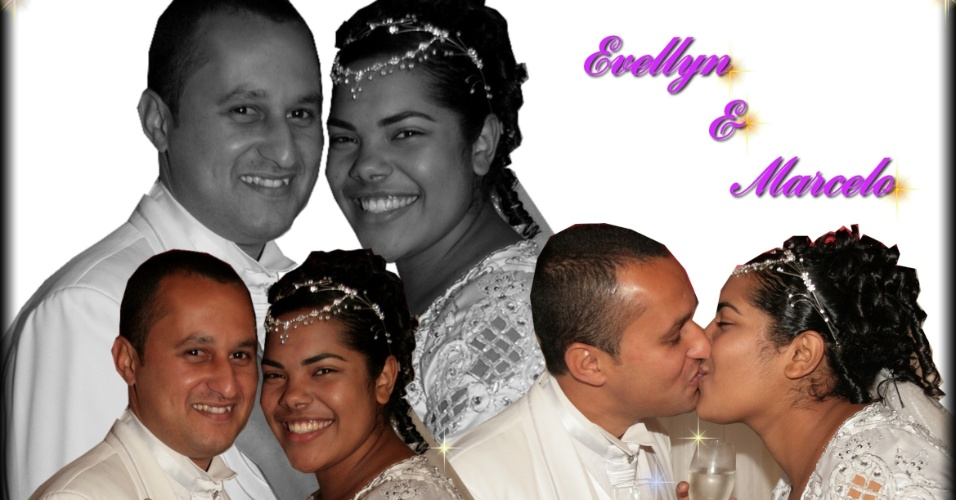 Evellyn Laiene e Marcelo Rodrigues casaram-se no dia 30/8/08 .