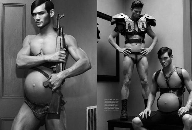 O fotógrafo norte-americano Steven Klein tem chamado a atenção do mundo rodo com fotos que fez para a revista ?Candy?. As imagens têm como destaque um homem grávido