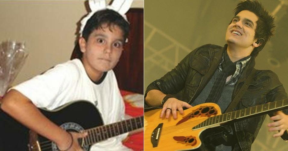 Com orelhas de coelhinho, o cantor Luan Santana aparece em uma imagem revelando a paixão do músico pelo violão desde cedo. E não é que Luan continua com esta cara de menininho até os dias de hoje