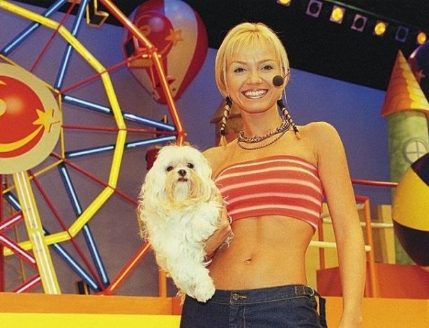 """A apresentadora Eliana no cenário do programa """"Eliana no Parque"""", um game show para o público infanto-juvenil, exibido na Record entre 1999 e 2001 (19/3/99)"""