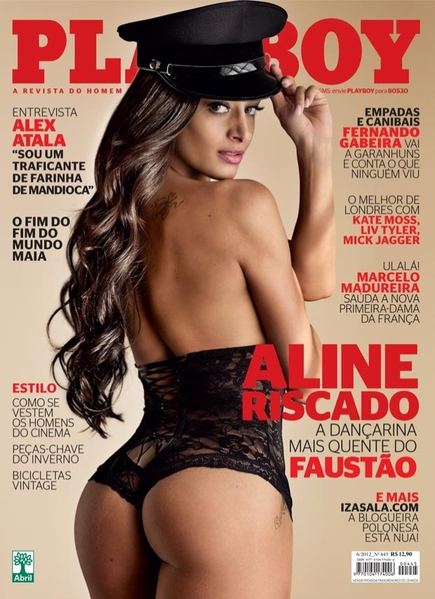 A dan&#231;arina Aline Riscado estampa a capa da edi&#231;&#227;o de junho da &#34;Playboy&#34;. A morena &#233; dan&#231;arina do &#34;Doming&#227;o do Faust&#227;o&#34; e seu ensaio foi inspirado no filme &#34;Flashdance&#34;, de 1983