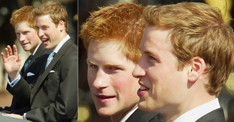 Príncipe Harry (esq.) e William (dir.) acenam para admiradores na saída do Palácio de Buckingham, em Londres (14/6/03)