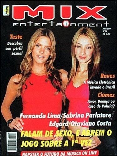 """Em Julho de 2000, Fernanda Lima dividiu com Sabrina Parlatore a capa da revista """"Mix Entertainment"""""""