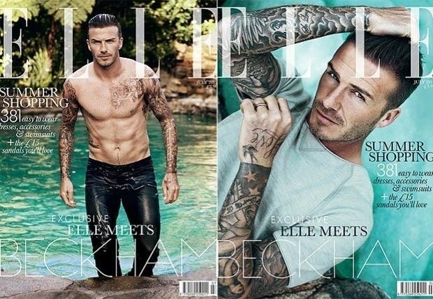 David Beckham é capa da Elle britânica de julho de 2012