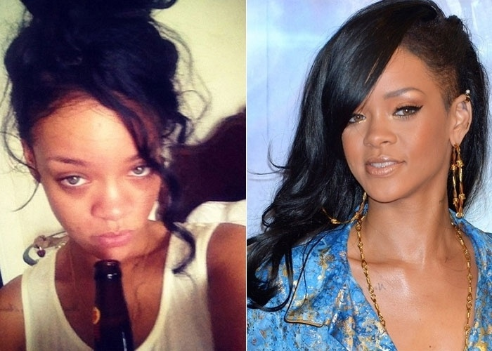 10.jul.2012 - Rihanna divulgou uma imagem onde aparece descabelada e sem maquiagem. A foto foi publicada pela cantora por meio de sua p&#225;gina do Twitter. Rihanna ainda deixou aparecer as olheiras e uma garrafa de bebida. &#192; direita, uma imagem da cantora produzida