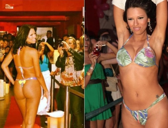 A ex-BBB Ariadna Arantes desfila para uma grife de roupa feminina em boate de Porto Alegre (RS).