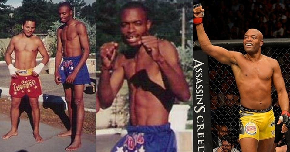 Quem imaginaria que o campeão do UFC Anderson Silva já foi franzino um dia? Em fotos postadas pelo mestre de muay thai Fábio Noguchi, é possível perceber como o lutador ganhou porte ao longo dos anos - atualmente, Anderson pesa 95 kg - deixando o físico magrelo no passado. As fotografias antigas são de 15 anos atrás, quando Anderson Silva nem pensava em derrotar Chael Sonnen na grande luta do UFC 148 (3ª foto) no último sábado (7/7/12)