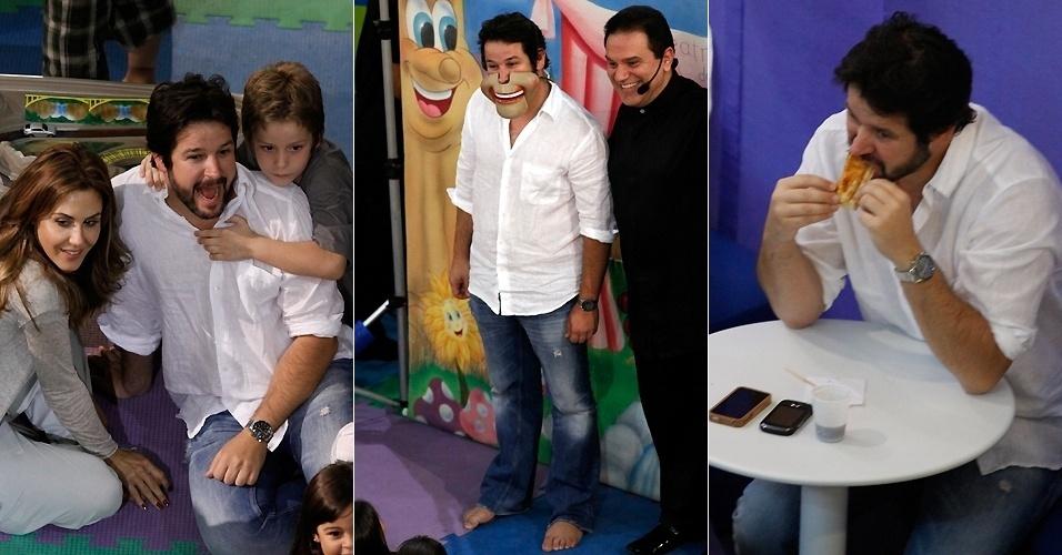 25.mai.2011 - Murilo Benício participa de brincadeira no aniversário do filho Pietro em um shopping do Rio de Janeiro