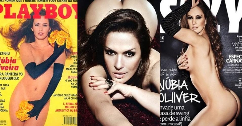 """De 1993 até 2011, Núbia Óliiver, 38, que ficou famosa com o nome artístico de Núbia Oliveira, participou de 15 ensaios sensuais. Conhecida por suas vitórias nos concursos """"As Panteras"""", dos anos 90, Núbia começou na TV participando do programa. Em 1998, ela decidiu mudar seu nome devido à numerologia."""