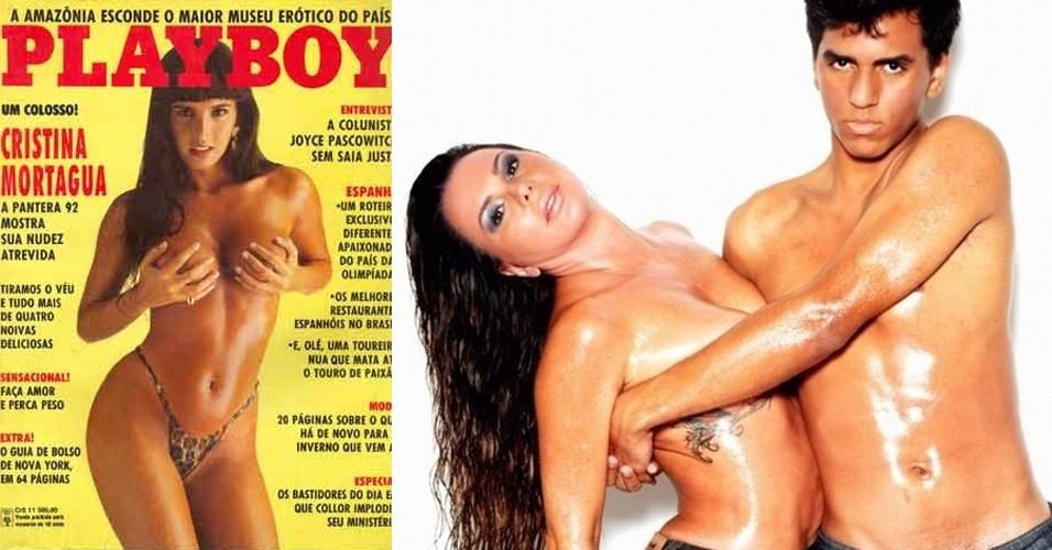 """Em 1992, Cristina Mortágua, 41, foi catapultada para a fama ao vencer o """"Concurso das Panteras. Entre as muitas polêmicas em que se envolveu, ela protagonizou um ensaio sensual ao lado do filho, Alexandre, em 2010, quando o garoto tinha apenas 15 anos. Algum tempo depois, ela chegou a ser presa por agredir o rapaz"""