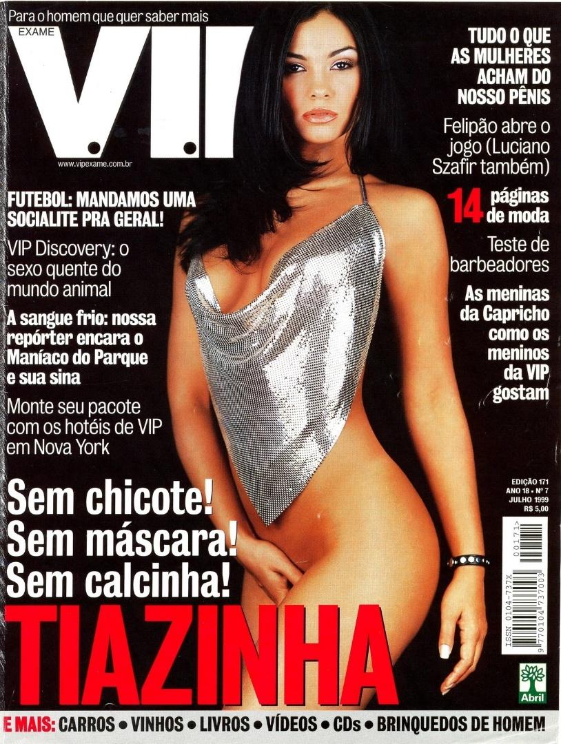 A atriz estampou três capas da Revista Vip. Aqui, no ensaio de Julho de 1999.