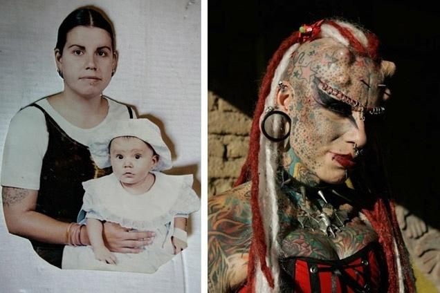 Maria José Cristerna, 35, conhecida como mulher vampira, é uma mexicana que fez várias transformações no corpo. As tatuagens e intervenções foram uma reposta dela às agressões que sofreu do marido. À esquerda, Maria José aparece antes da 'metamorfose'; à direita, a mexicana como é hoje