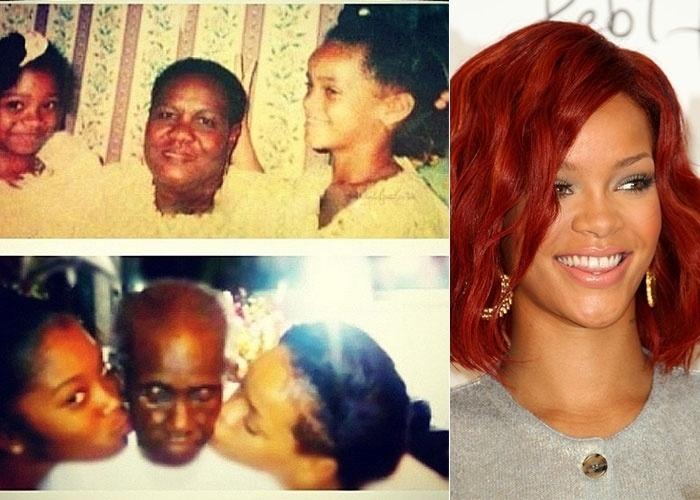 """Rihanna (dir.) postou no Instagram uma foto em que aparece bem novinha ao lado da avó, Clara Brathwaite Viola Venetta, a quem Rihanna chamava carinhosamente de Dolly (15/8/12). """"Obrigada, vovó Dolly"""", escreveu a cantora"""