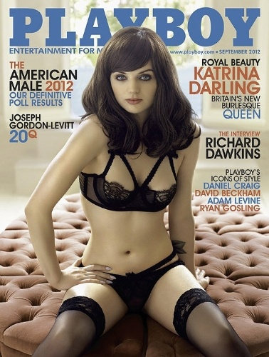 "Capa da revista ""Playboy"" de setembro, estrelada pela stripper Katrina Darling, prima da duquesa de Cambridge Kate Middleton."