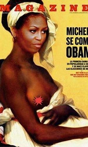 """A edição mais recente da revista espanhola """"Fuera de Serei"""" estampou uma imagem artística polêmica da primeira-dama dos EUA, Michelle Obama, caracterizada como uma escrava. Sob o título de """"Michelle: neta de uma escrava, senhora da América"""", a capa sobrepõe o rosto de Michelle na pintura """"Portrait d'une négresse"""", da francesa neoclássica Marie-Guillemine Benoist. A obra original simbolizava a emancipação dos negros e foi exibida pela primeira vez seis anos após a abolição da escravidão na França"""