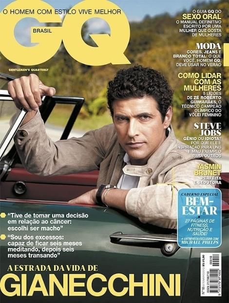 """Reynaldo Gianecchini, 38, é o destaque da edição de setembro da revista """"GQ"""". Em entrevista à publicação, o ator revelou que gosta de explorar intensamente cada momento de sua vida. """"Sou dos excessos: sou capaz de ficar seis meses meditando, depois seis meses transando"""", afirmou Giane. ele também falou sobre sua recuperação de um câncer linfático, que descobriu ter em 2011. """"Tive de tomar uma decisão em relação ao câncer: escolhi ser macho"""", contou o ator"""