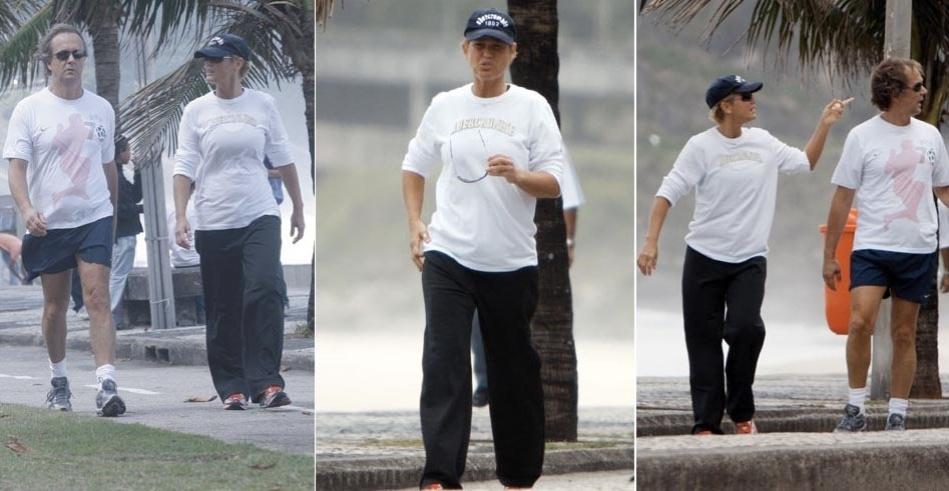 Xuxa fazendo caminhada de manhã. A atriz usou boné e blusa larga na tentativa de não ser reconhecida (23/9/08)