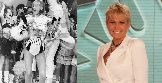 """Xuxa antes e depois: nos anos 80, quando apresentava o """"Xou da Xuxa"""", e em 2011, aos 48 anos. Em entrevista coletiva, a estrela da Globo admitiu que está se sentindo uma """"cinquentona"""" (28/3/11)"""
