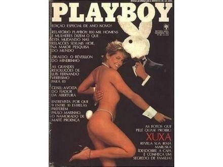 Maria da Graça Meneghel nasceu em Santa Rosa (RS) em 27 de março de 1963. O extenso nome de batismo foi abandonado quando a loira ganhou sucesso a partir de 1983 apresentando programas infantis. Na imagem (janeiro de 1982), Xuxa 'mostrou as fotos que Pelé proibiu', na 'Playboy'