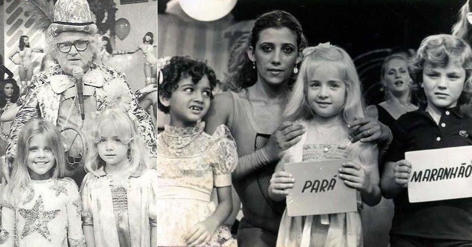 """A apresentadora Angélica divulgou imagens de 1976, quando tinha apenas seis anos, e foi a campeã do concurso """"A Criança Mais Bonita do Brasil"""", no programa do Chacrinha. Na 1ª foto, Angélica é a garotinha da direita. Na 2ª, a loira aparece segurando a plaquinha """"Pará"""", próxima a chacrete Rita Cadillac. """"Onde tudo começou. Programa do saudoso Chacrinha!"""", escreveu a apresentadora na legenda da imagem no Facebook (6/9/12)"""