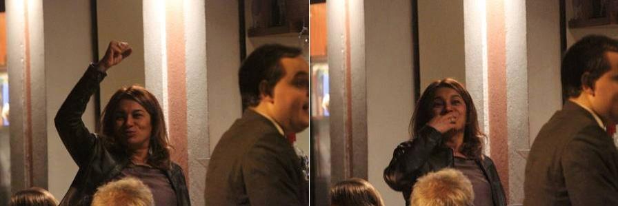 Dira Paes curtiu a noite do Horto (RJ) e foi flagrada 'alegrinha' depois de uns golinhos a mais. A atriz estava em total clima de animação, com direito a caras e bocas e sorrisão (8/9/12)