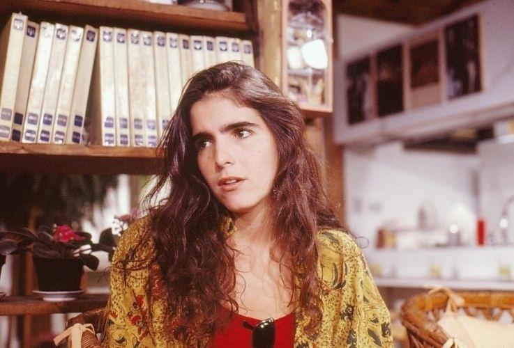"""Malu Mader durante gravação de """"Top Model"""", em que interpreta Duda, uma menina pobre que é descoberta e acaba virando uma top model (1989)"""
