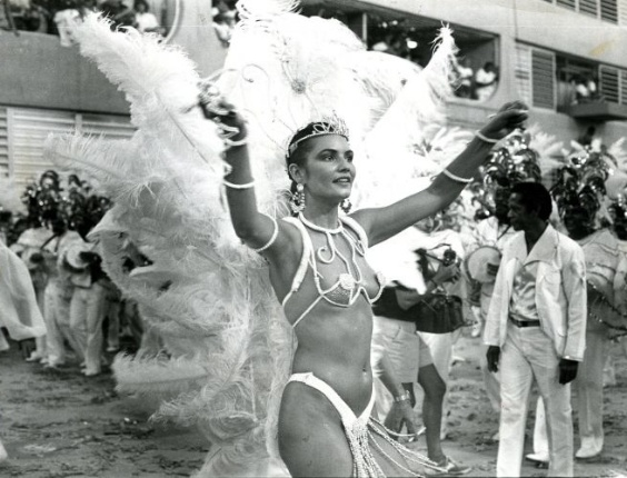 No Carnaval de 1987, Luiza Brunet foi a madrinha da bateria da Portela. Sorrindo, Luiza ia de um lado ao outro da pista, cantando, animando a bateria e, de bra&#231;os abertos, pedindo ao p&#250;blico que cantasse com ela o enredo portelense, &#34;Adelaide, a Pomba da Paz&#34;