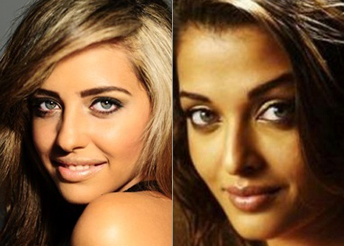 Mariana Trombim mostra que se parece com a atriz indiana Aishwarya Rai, famosa na ind&#250;stria cinematogr&#225;fica de Bollywood