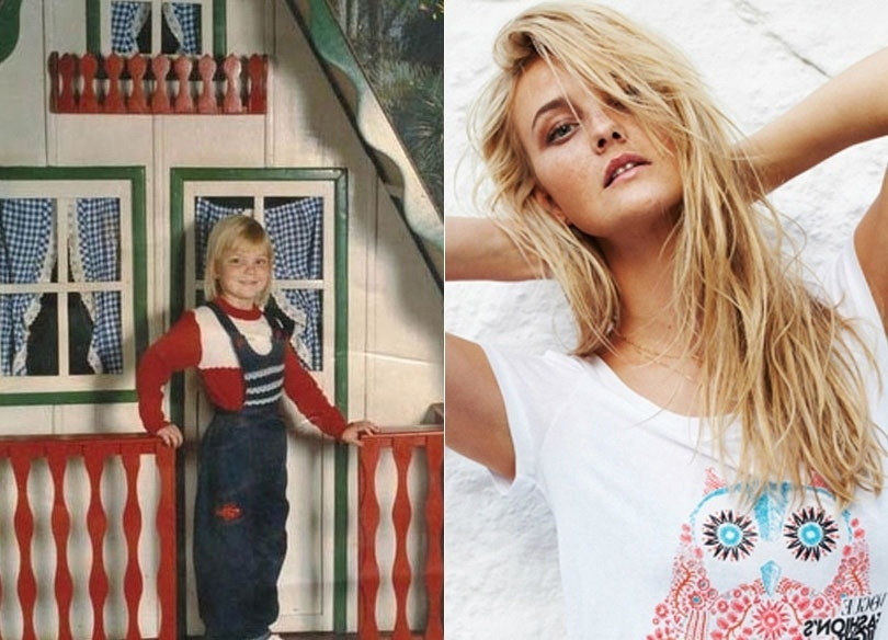 A loirinha Carol Trentini só tinha quatro anos quando posou com carinha de sapeca para a foto à esquerda. Mas a top cresceu e virou um mulherão e já estampou diversas capas de revistas
