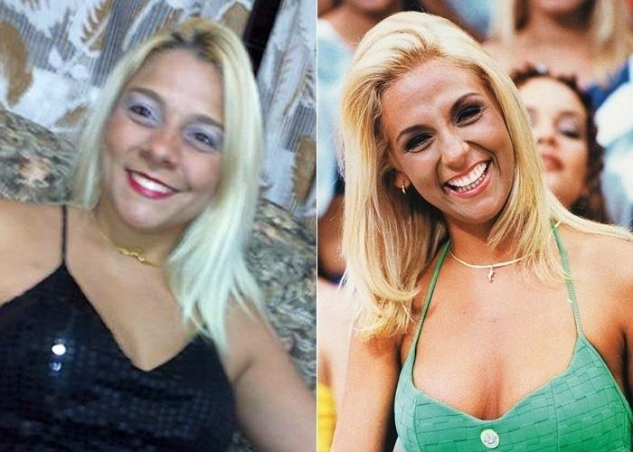 """Cristina Grimaldi, de São Paulo, declara: """"Dizem que sou parecida com Carla Perez"""". Que nota você dá para a semelhança entre as duas loiras?"""