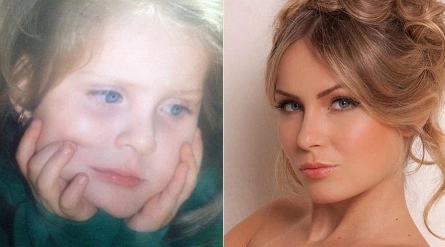 """A ex-BBB Renata Dávila divulgou uma imagem da infância por meio de sua página do Twitter (26/9/12). """"Eu em um momento chateada"""", brincou a loira no microblog. Na imagem à direita, Renata posa em ensaio inspirado em Brigitte Bardot"""