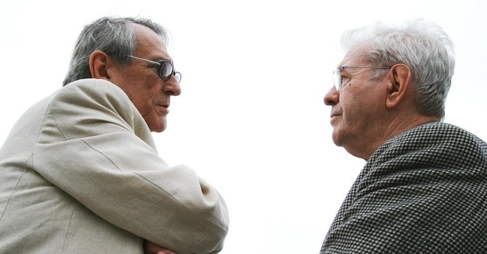 Os atores Juca de Oliveira e Paulo Goulart participam da inauguração do Túnel Paulo Autran, no dia do 454º aniversário de São Paulo (25/2/08)