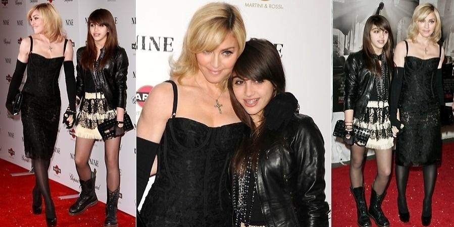 """Lourdes Maria está cada vez mais parecida com a mãe, Madonna. Na imagem, as duas aparecem no tapete vermelho da première do filme """"Nine"""" em Nova York (15/12/09)"""