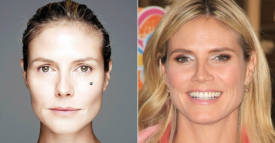 4.nov.2012 - Aos 39 anos, Heidi Klum aparece sem maquiagem em uma campanha beneficente que visa arrecadar fundos para crian&#231;as pobres. A top e apresentadora alem&#227; posou apenas com uma tatuagem em forma de pata &#40;s&#237;mbolo da campanha&#41; na bochecha