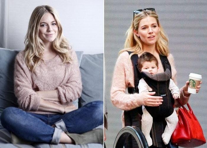 """9.jul.2012 - Sienna Miller também deu à luz sua primeira filha, com o ator britânico Tom Sturridge, em clima de segredo: a atriz norte-americana não divulgou o sexo e o nome do bebê. Em outubro, o site """"Celebrity Baby Scoop"""" flagrou a bela passeando com a pequena Marlowe"""