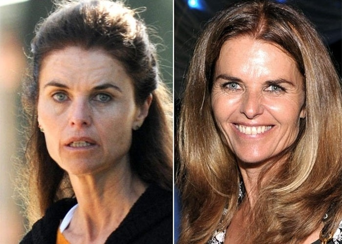 Maria Owings Shriver, jornalista e ex-esposa de Arnold Schwarzenegger, n&#227;o muda muito com o uso da maquiagem